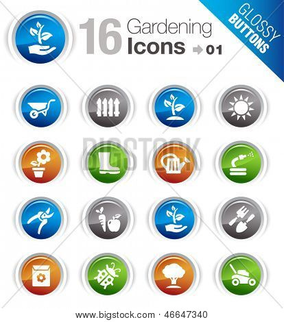 Glossy Buttons - Gardening icons