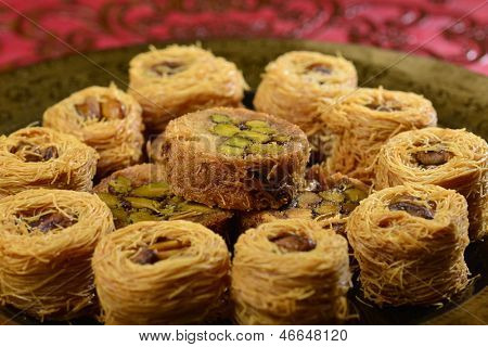 Close up of arranged turkish sweet