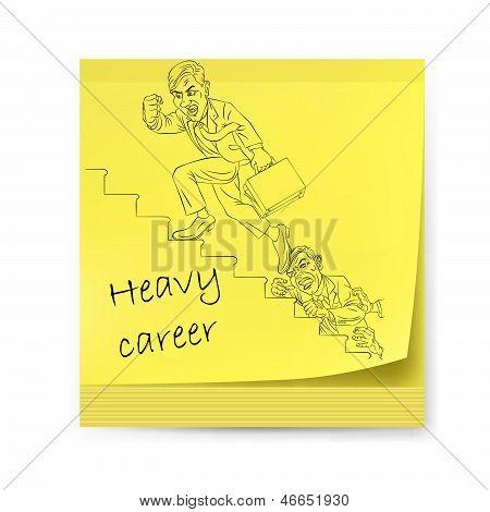 Pegatinas amarillas con empresario