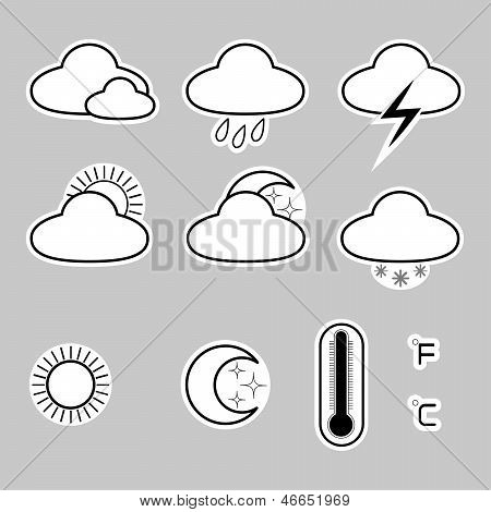 Icons indicate the weather on a gray background