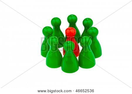 red and green pawns. different team. quota for women in the workplace.