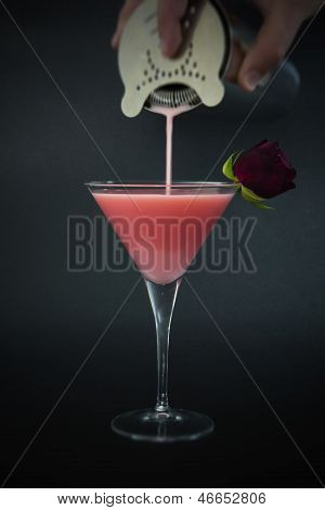 Delicious Pink Cocktail On Dark Background