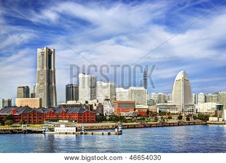 View of Yokohama, Japan. The city is the second largest in the country.