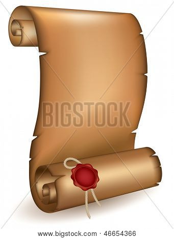 Old scroll with a wet seal. Rasterized illustration. Vector version in my portfolio
