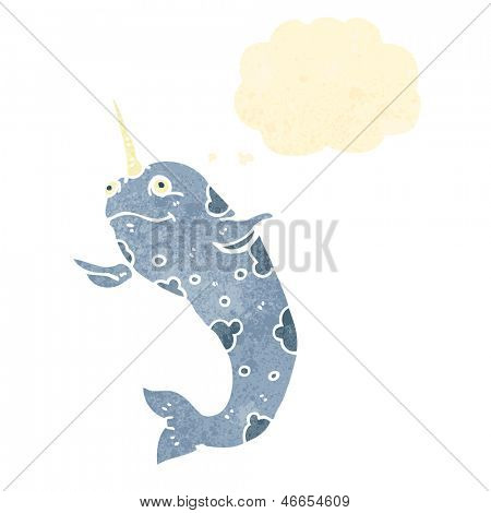 retro cartoon narwhal with thought bubble
