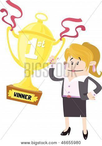 Businesswoman Buddy Wins First Prize Trophy