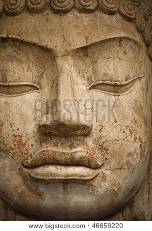 Face Of Stone Buddha Statue