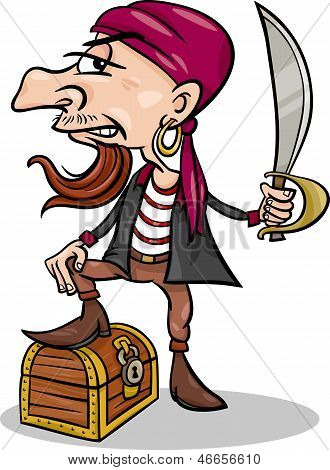 Pirate With Treasure Cartoon Illustration