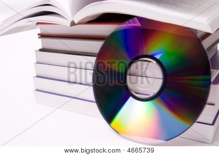 Audio Book Concept - Pile Of Books And One Cd