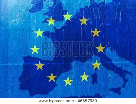 Grunge Europe map in blue  with the EU stars