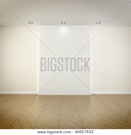 Rendering of an empty room with high quality parquet floor, blank, wall and spot lights on the ceiling
