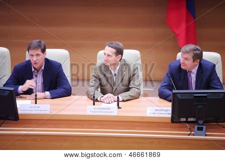 MOSCOW - OCT 6: Alexander Zhukov, Sergey Naryshkin (Head of State Duma), Igor Ananskikh at presentation of Olympic Winter Games 2014 in Russian State Duma, Oct 6, 2012 in Moscow, Russia.