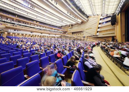 MOSCOW - OCTOBER 14: Spectators await start of anniversary concert Edyta Piecha at Kremlin Palace, on October 14, 2012 in Moscow, Russia. State Kremlin Palace was built in 1961.
