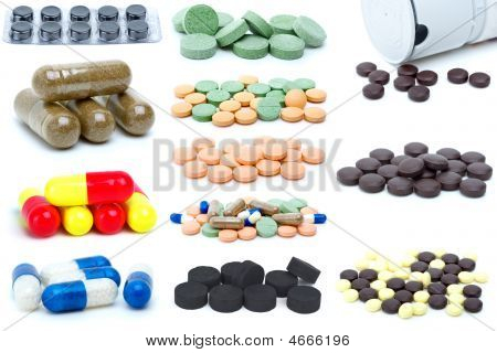 Set Of Different Pills And Tablets