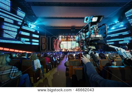 MOSCOW - OCTOBER 14: Videographer works at anniversary concert of Edita Piecha in Kremlin Palace, on October 14, 2012 in Moscow, Russia. Famous Russian singer Edita Piecha sings on stage 55 years.