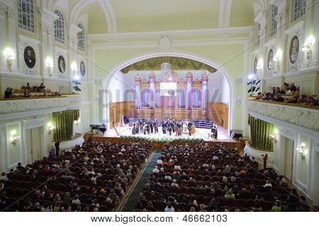 MOSCOW - OCT 4: Gala evening dedicated to 100th anniversary of All-Russian Museum Association of Musical Culture Glinka at Moscow Tchaikovsky Conservatory (view from porter), Oct 4 2012, Moscow Russia