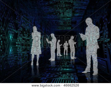Silhouette of business people made with binary codes in the middle of circuit board