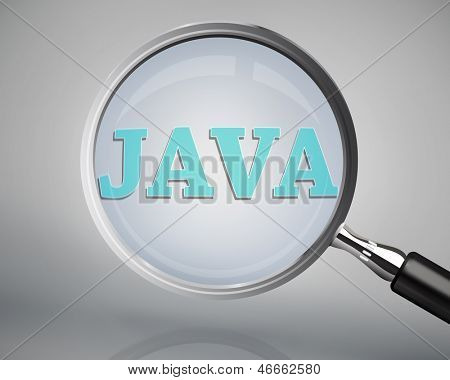 Magnifying glass showing java word on grey background
