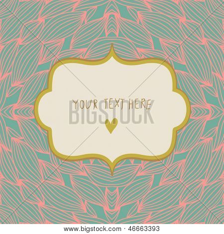 Stylish floral background with textbox. Summer concept card in modern popular colors