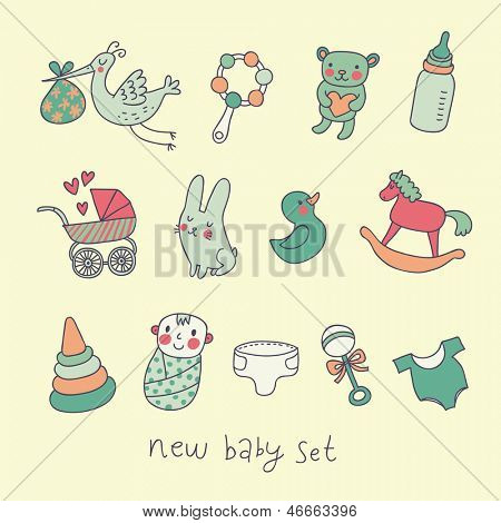 Cartoon baby set in vector. Stroller, rattle, stork, diaper, toys, horse, bear, rabbit, baby, milk and other cute elements