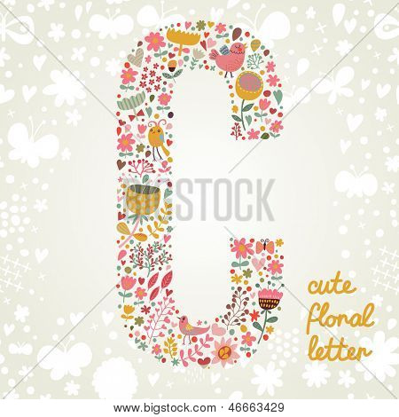 The letter C. Bright floral element of colorful alphabet made ??from birds, flowers, petals, hearts and twigs. Summer floral ABC element in vector