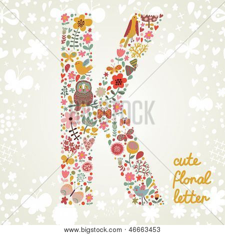 The letter K. Bright floral element of colorful alphabet made ??from birds, flowers, petals, hearts and twigs. Summer floral ABC element in vector