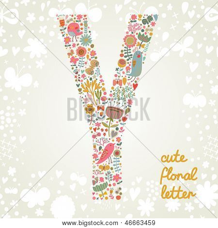 The letter Y. Bright floral element of colorful alphabet made ??from birds, flowers, petals, hearts and twigs. Summer floral ABC element in vector