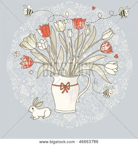 Gorgeous vase with tulips, bees and little rabbit. Cartoon vector card for beautiful invitations