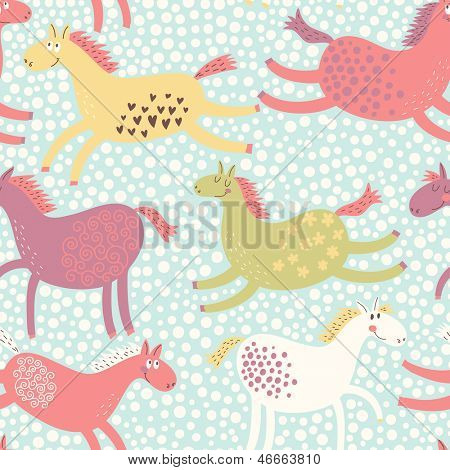 Cute funny seamless pattern with horses. Vector background with running pony. Birthday decoration. Children's bedroom wallpaper design. Freedom concept card.