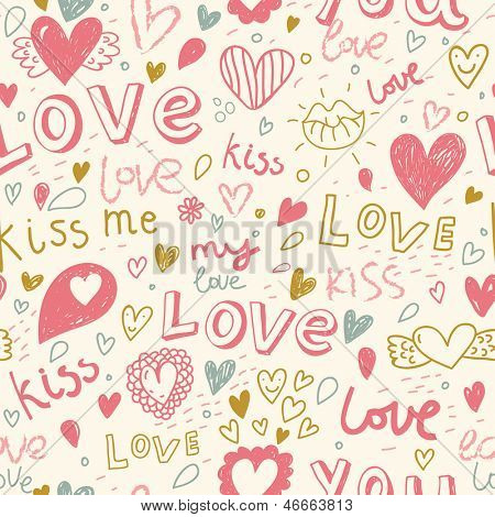 Romantic seamless pattern with hearts, lips. Valentines day decoration texture. Love concept. Wedding invitation