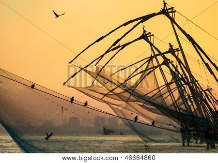 Chinese fishing net at sunrise in Cochin (Fort Kochi), Kerala, India