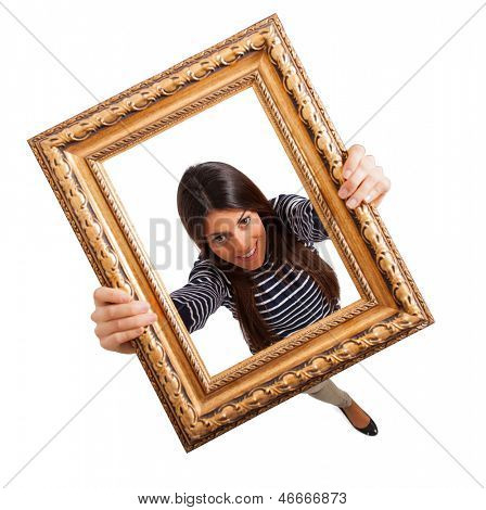 happy woman looking through frame on white background