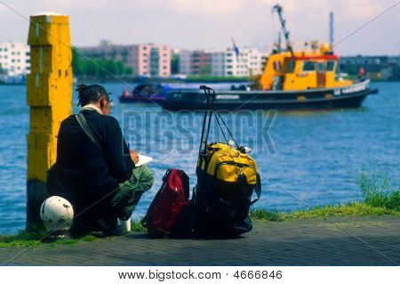 Backpacker In Amsterdam