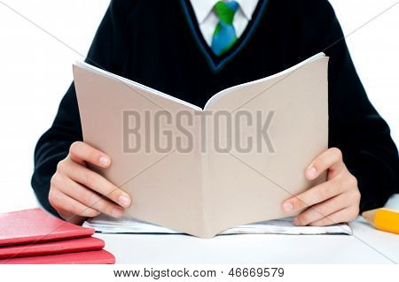Cropped Image Of A School Boy Holding Books