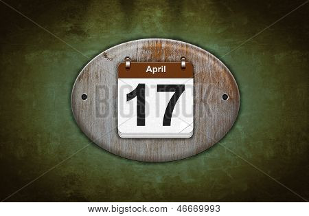 Old Wooden Calendar With April 17.