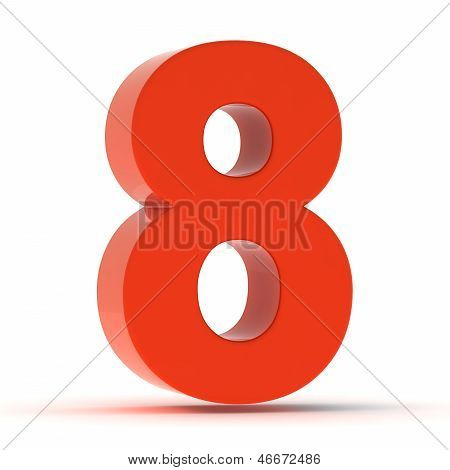 The Number Eight - Red Plastic