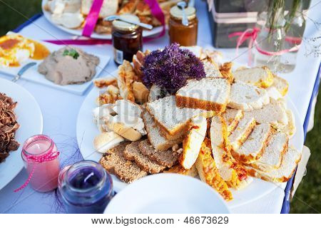 Assortment Of Bread And Condiments