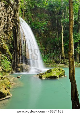 Beautiful Tropical Rainforest Waterfall