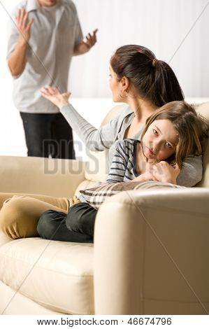 Suffering girl from parents separation and constant fights