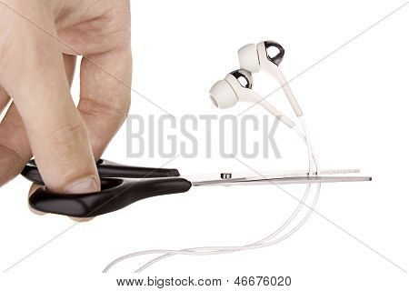 Photo Of Cutting Of Ear-phones On White Background