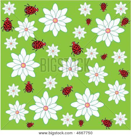 Ladybug With Flowers Patern