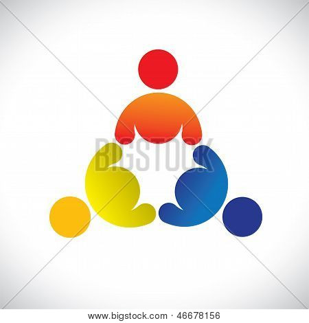 Concept Vector Graphic- Colorful Threesome Children Playing Icons(signs)
