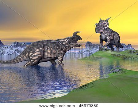 Einiosaurus Dinosaurs By Sunset - 3D Render