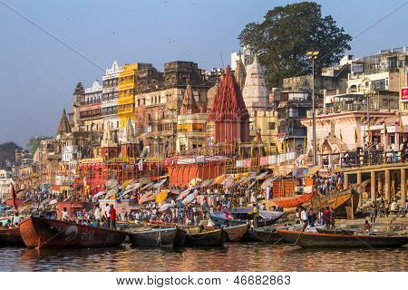 VARANASI, INDIA - MARCH 23: Ghats on the banks of Ganges river in holy city of Varanasi on March 23, 2013 in Varanasi, Uttar Pradesh, India.
