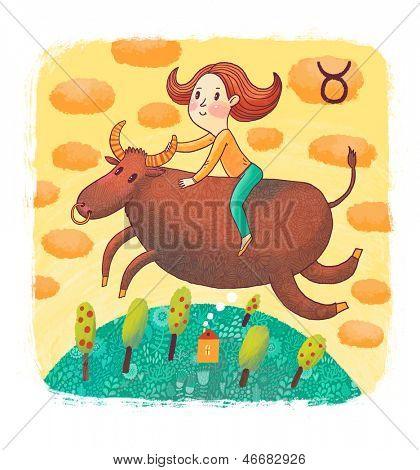 Signo del zodiaco - Tauro. Parte de un calendario de gran colorido dibujos animados. Ilustración de verano con linda chica