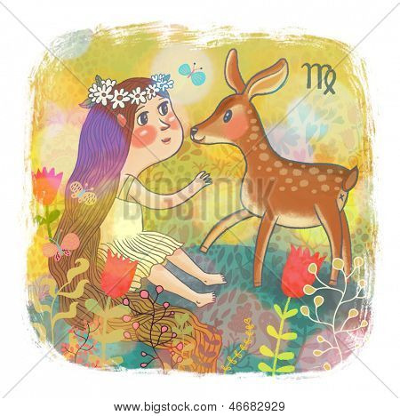 Zodiac sign - Virgo. Part of a large colorful cartoon calendar. Cute girl and fawn in flowers. Bright colored cartoon illustration.