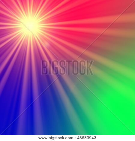 Star With Rainbow Light Rays
