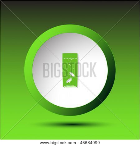 Glass with tablets. Plastic button. Raster illustration.
