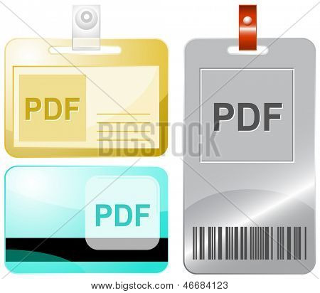Pdf. Id cards. Raster illustration.