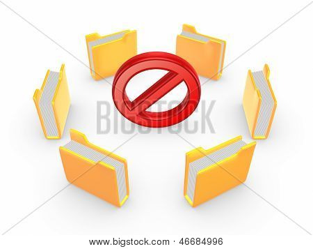Yellow folders around symbol of warning.